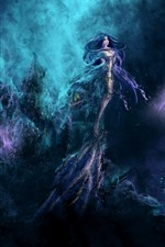 Preview iPhone wallpaper Mermaid, fantasy girl, underwater, art picture