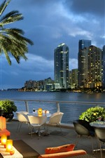 Miami, cafe, river, skyscrapers, night, lights, palm trees, USA
