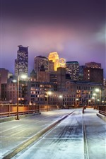 Preview iPhone wallpaper Minnesota, city at night, road, lights, snow, winter, USA