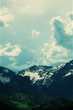 Mountains, snow, sky, clouds, dusk