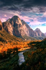 Preview iPhone wallpaper Mountains, valley, clouds, plants