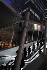 Preview iPhone wallpaper Night, city, escalator, lights, people