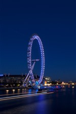 Preview iPhone wallpaper Night, river, ferris wheel, lights, England, London