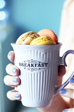 Preview iPhone wallpaper One cup of macaron, breakfast, girl