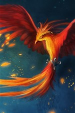 Preview iPhone wallpaper Phoenix, wings, tail, art picture