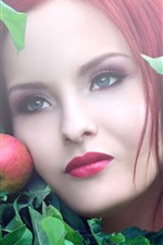 Preview iPhone wallpaper Red hair girl, apple, face