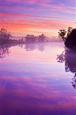 Preview iPhone wallpaper River, trees, fog, water reflection, morning, purple