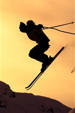 Preview iPhone wallpaper Ski, silhouette, sport, snow