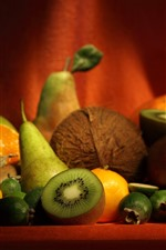 Preview iPhone wallpaper Some fruit, kiwi, orange, pear, still life