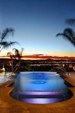 Schwimmbad, Palmen, Nacht, Resort