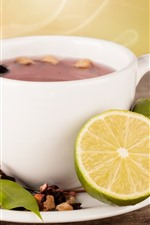 Vorschau des iPhone Hintergrundbilder Tee und Zitrone, Getränke
