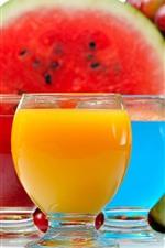 Três xícaras de drinks, colorido, melancia