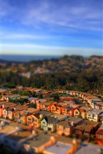 Preview iPhone wallpaper Tilt-shift photography, city, houses, hazy