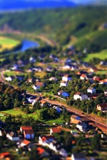 Preview iPhone wallpaper Tilt-shift photography, countryside, town