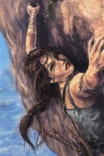 Preview iPhone wallpaper Tomb Raider, Lara Croft, climb, art painting