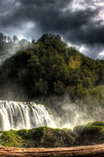 Preview iPhone wallpaper Trees, waterfalls, clouds, nature landscape