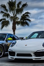 Preview iPhone wallpaper Two Porsche cars