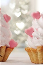 Preview iPhone wallpaper Two cupcakes, cream, love heart