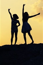 Preview iPhone wallpaper Two girls, dance, pose, silhouette