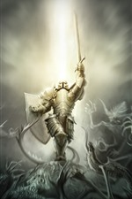 Preview iPhone wallpaper Warrior, armor, monster, creative picture