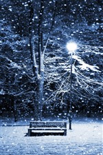 Preview iPhone wallpaper Winter, snow, night, bench, trees, lights