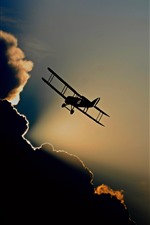 Aircraft, silhouette, flight, sky, clouds