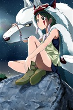 Preview iPhone wallpaper Anime girl and white wolf