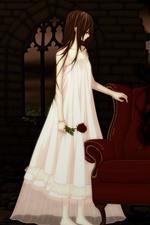 iPhone壁紙のプレビュー アニメの女の子、吸血鬼、ソファ、バラ