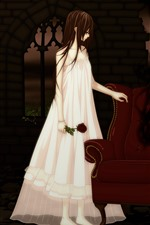 Preview iPhone wallpaper Anime girl, vampire, sofa, rose