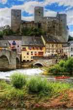 Beautiful city, Runkel, Germany, castle, river, bridge
