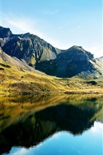 Preview iPhone wallpaper Beautiful nature landscape, mountains, green, lake, water reflection