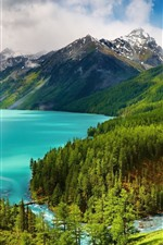 Preview iPhone wallpaper Beautiful nature landscape, slope, mountains, trees, lake