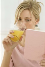 Blonde girl, drink orange juice, look book
