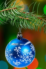 Preview iPhone wallpaper Blue Christmas ball, pine twigs, light circles