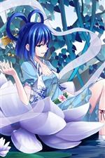 iPhone壁紙のプレビュー 青い髪のアニメの女の子、池、睡蓮、花