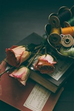 Books, pink roses, thread