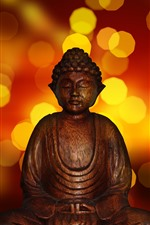 Preview iPhone wallpaper Buddha statue, light circles