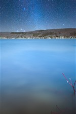 Preview iPhone wallpaper Canada, Quebec, lake, sky, starry, stars