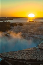 Canada, waterfall, river, bridge, morning, sunrise