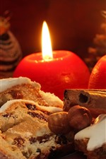 Preview iPhone wallpaper Candles, flame, cookies, bread, Christmas