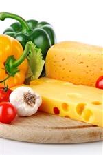 iPhone壁紙のプレビュー チーズ、トマト、ピーマン、ニンニク