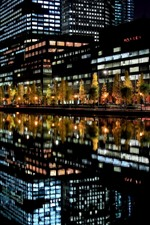 Preview iPhone wallpaper City, night, buildings, lights, river, water reflection