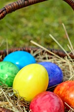 Preview iPhone wallpaper Colorful Easter eggs, basket, grass