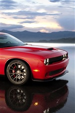 Preview iPhone wallpaper Dodge red supercar, lake