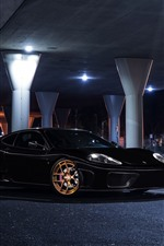 Preview iPhone wallpaper Ferrari black car at night, bridge, lights