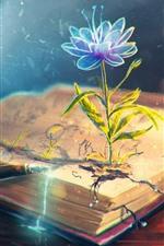 Flower, book, pen, creative design