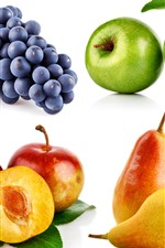 Preview iPhone wallpaper Four kinds of fruit, grapes, apples, plums, pears