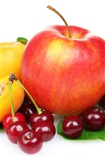 Preview iPhone wallpaper Fruits, cherries, apple, peach, white background