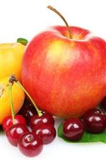 Vorschau des iPhone Hintergrundbilder Früchte, Kirschen, Apfel, Pfirsich, weißer Hintergrund