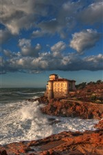 Preview iPhone wallpaper Italy, Boccale Castle, sea, coast, clouds, autumn